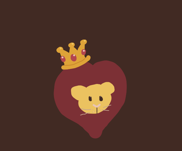 Cute lion with a crown