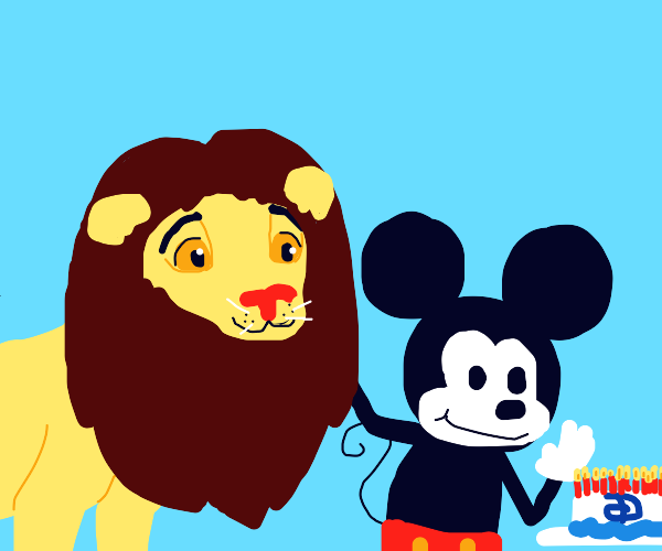 A lion and a mouse, together for 13 years...