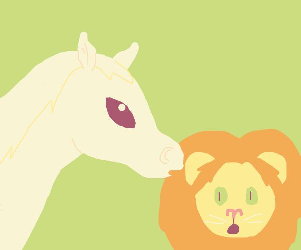 Horse tells lion a secret