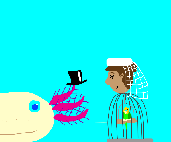 Gill marries bird cage woman