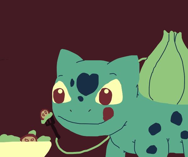 Bulbasaur eating salad