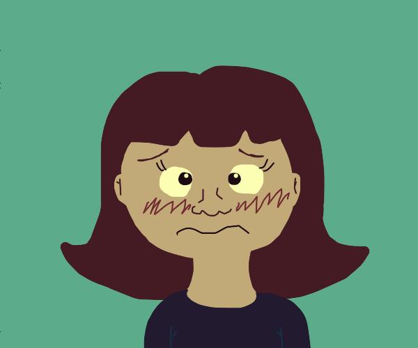 embarrassed, cross-eyed girl