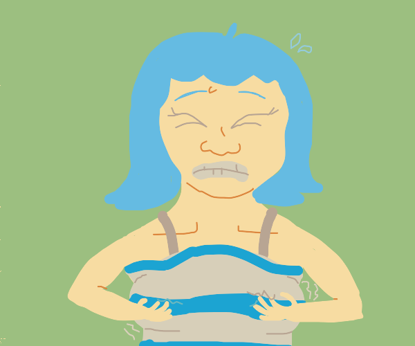 Blue haired girl has itchy breasts
