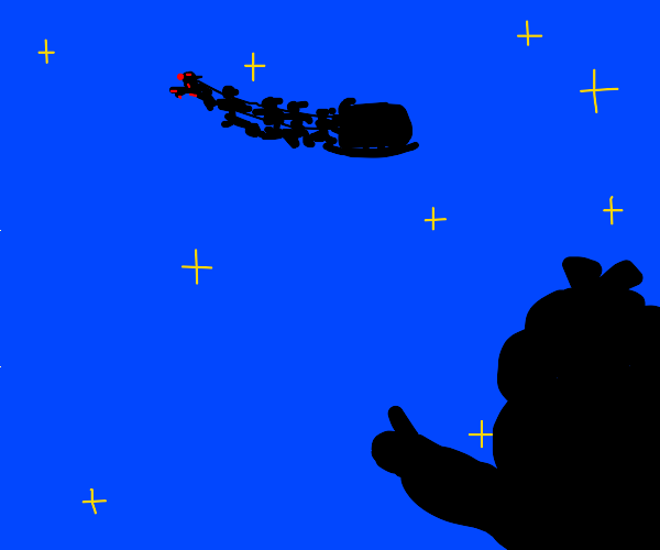little girl spotting Santa in the sky