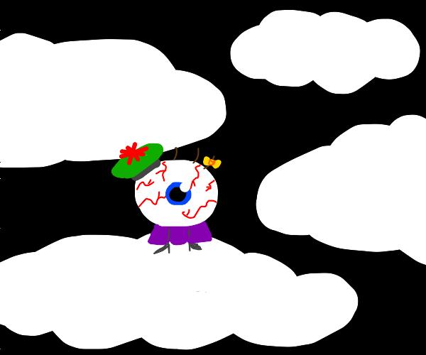 McBloodshot eyeball little girl in the clouds
