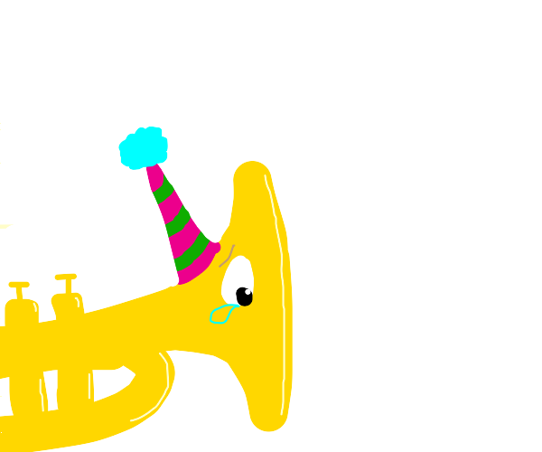 Sad trumpet with party hat