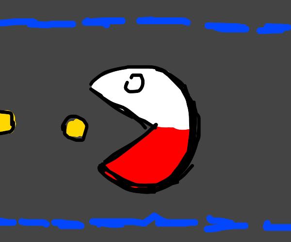 Polandball becomes pacman