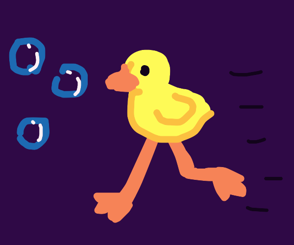 anthro duck chasing bubbles