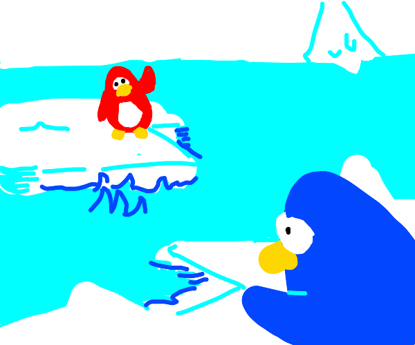Red pingouin being send alone into the sea