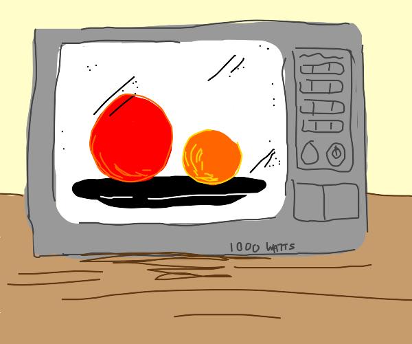 Microwaving red and orange ball