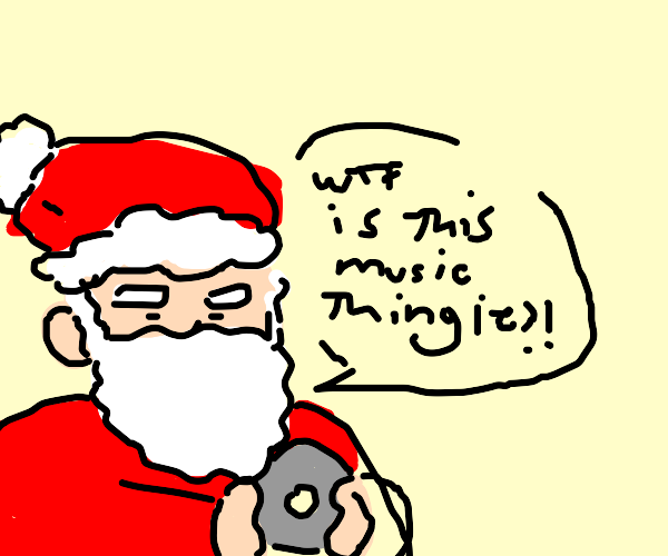 Santa discovers what a CD is