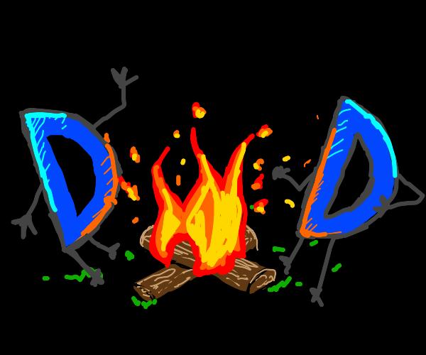 Two Drawception Ds having a bonfire.
