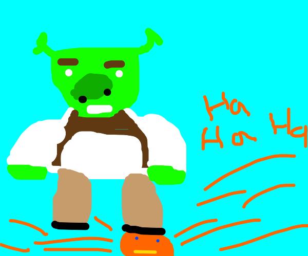 Shrek stepping on Annoying Orange