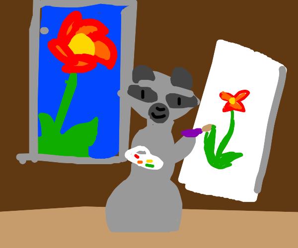 Raccoon painting flower