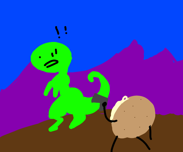 Dinosaur surprise attacked by a baked potato