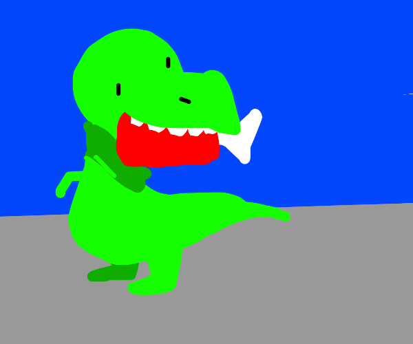 Dinosaurus eating ham with a bone in it