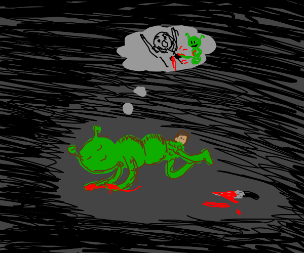 green bug alien sleeping after murdering