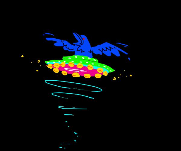 raven in a neon ufo