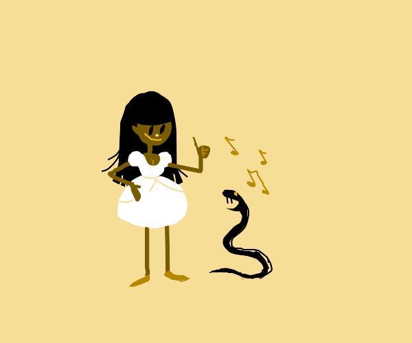 Red girl enjoys her musical snek