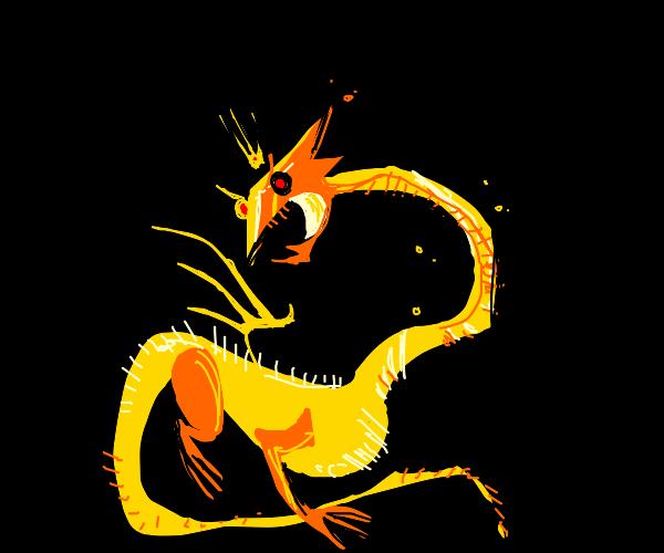 Geometric golden dragon god