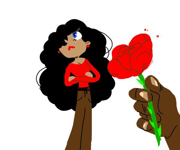 woman looks away from rose