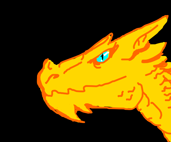 yellow dragon with blue eyes