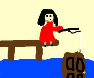 Girl in Red Dress Fishing for A Door