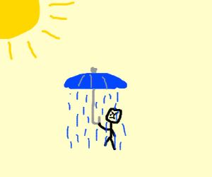 Raining under an umbrella