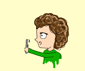 curly haired kid awstruck by toothbrush