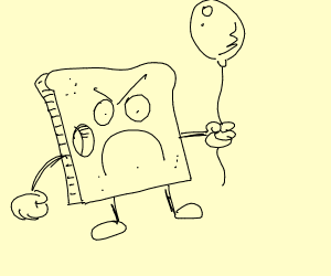 Angry Bread with a hole holds balloon???