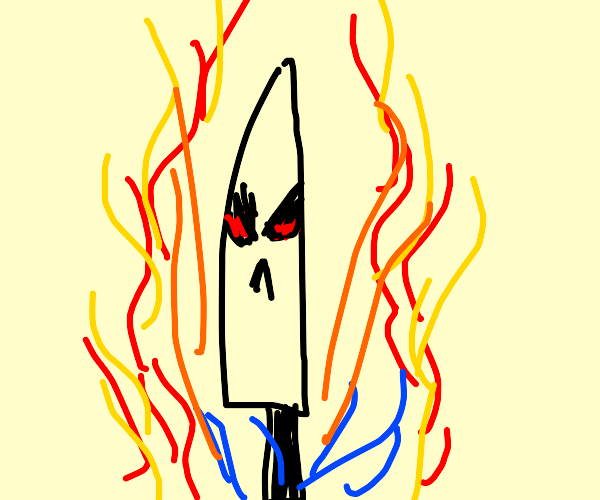 angry knife is on fire