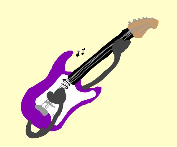purple guitar playing itself