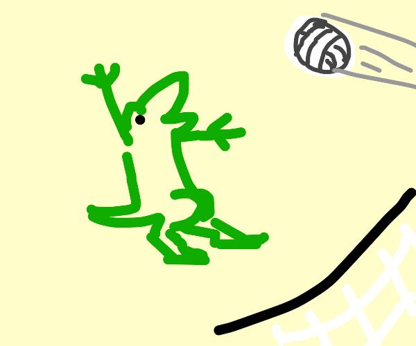 Dinosaur playing Volleyball