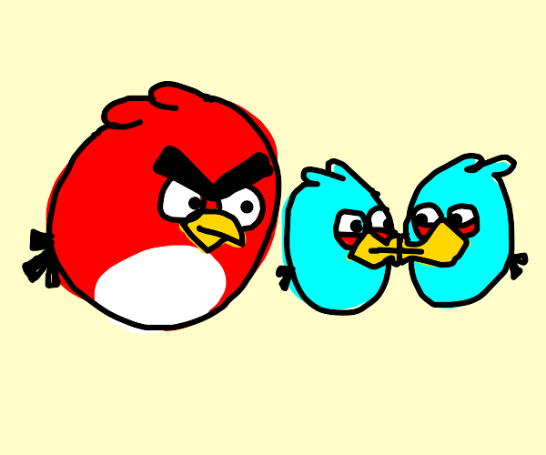 Angry red bird seeing two blue birds kiss
