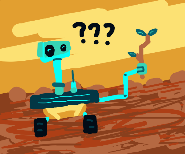 Robot with stick on red planet