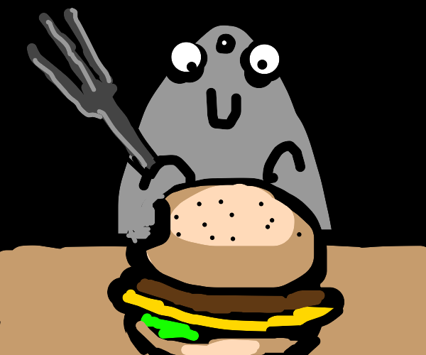 Rat eats burger with fork