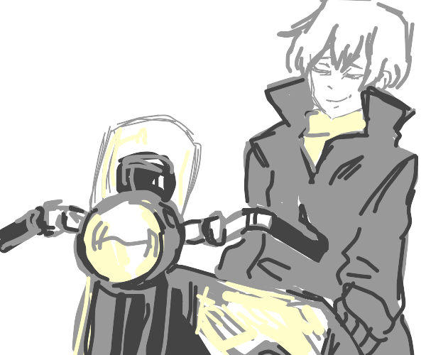 Anime girl on a motorcycle