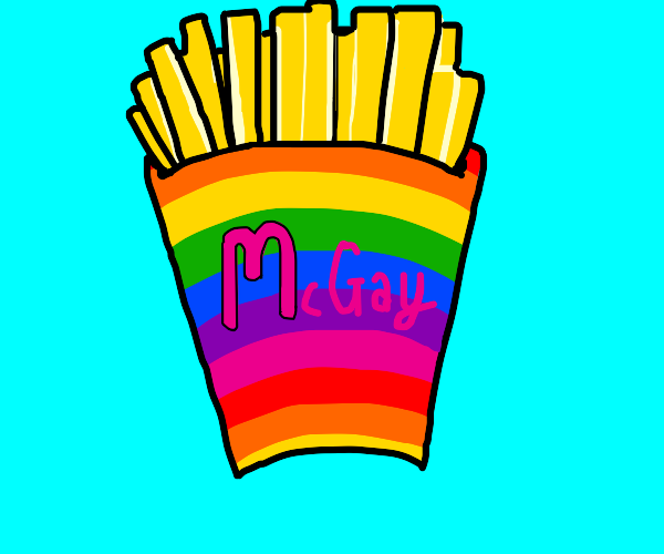 French fries in a rainbow box