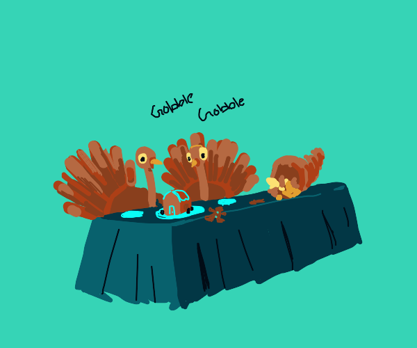 Turkeys are thankful for gingerbread dinner