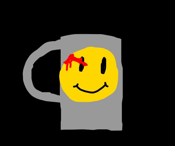 Watchmen logo on a coffee mug