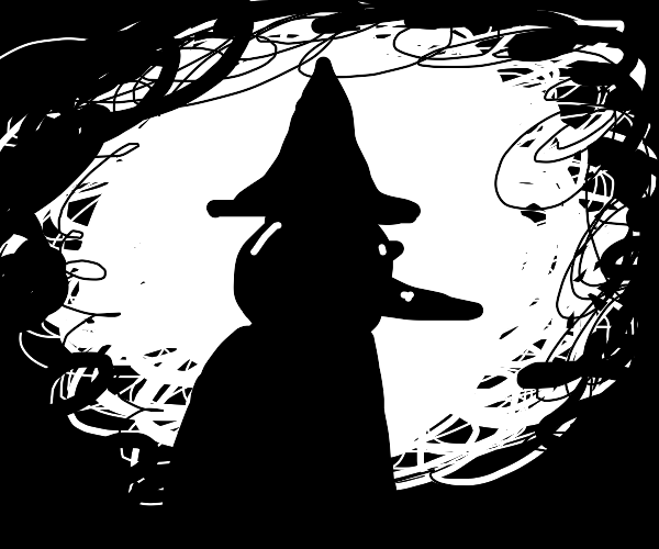 Witch appears in a white void