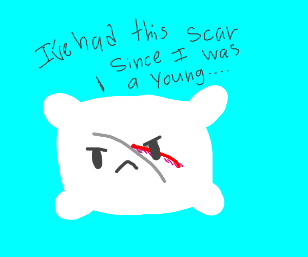 Pillow with a scar