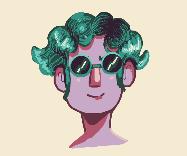 guy with curly hair wearing sunglasses