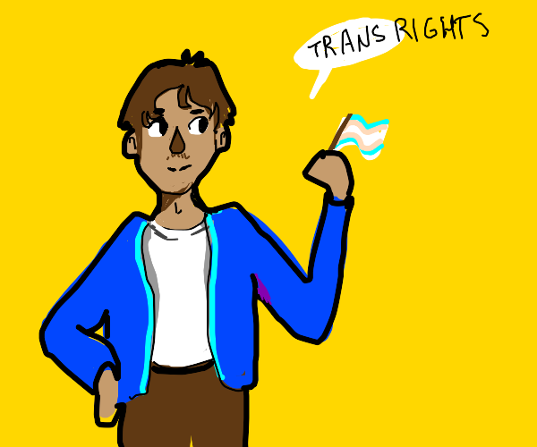 A guy in a blue jacket says trans rights