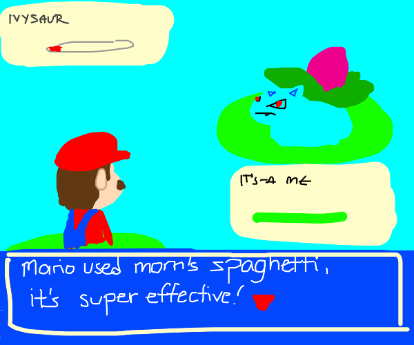 Mario is super effective against Ivysaur