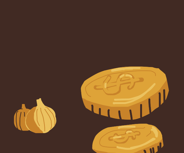 small onions and coins