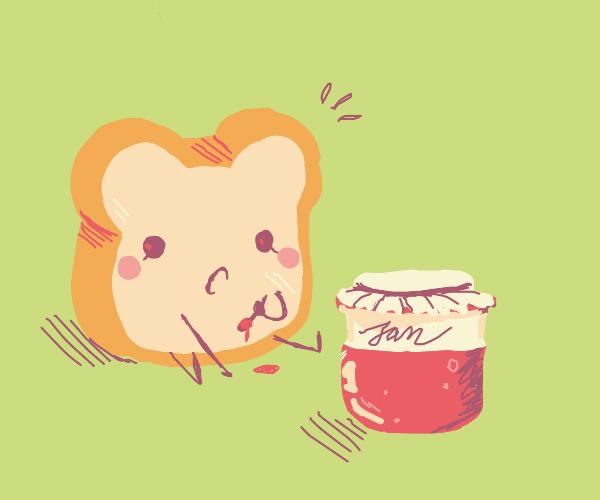 CHIBI TOAST EATING JAM
