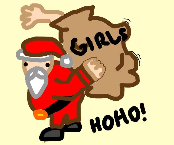 Santa hohoho w two ladies