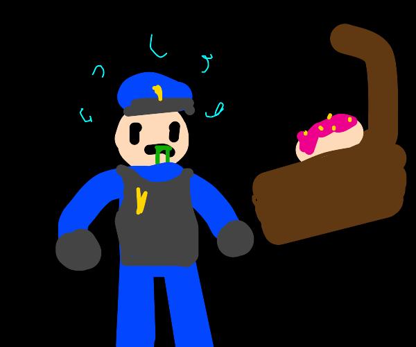 Crazy police officer drunk on donuts