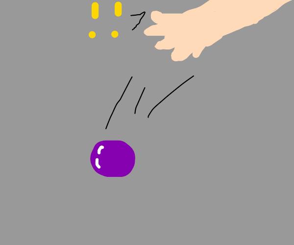 Purple ball falling